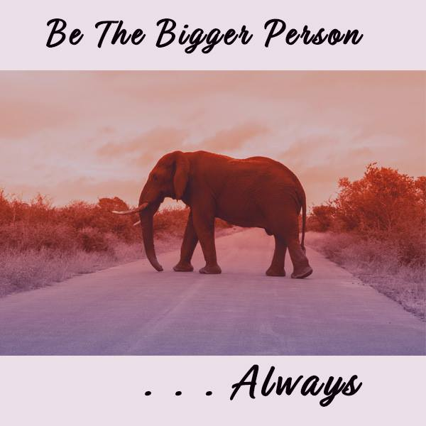 Elephant, Bigger Person, Leading by Example, Always