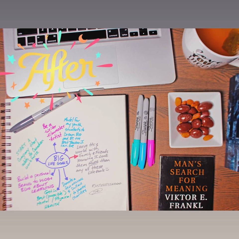 """Goals, written down, with mac computer desk"""""""