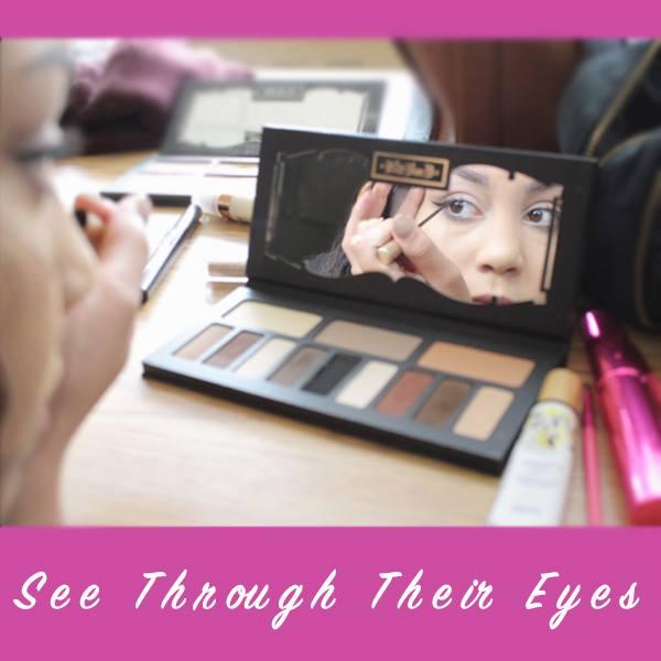 Lens, eyes, seeing, girl doing makeup, empathy