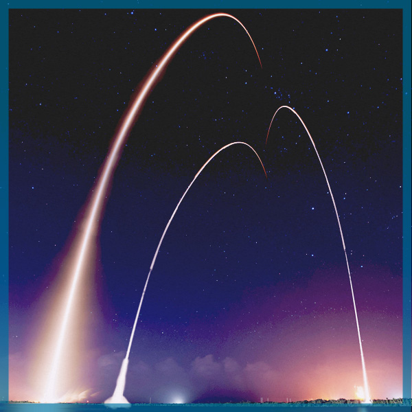 Rockets, launching, bright, night, lighting up, sky, flares
