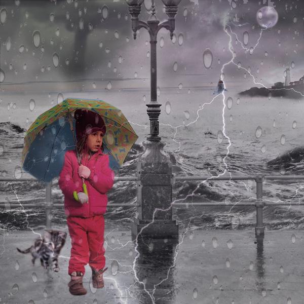 Storm, umbrella, street photography, surge, shark, lighthouse, tornado, lightning, moon