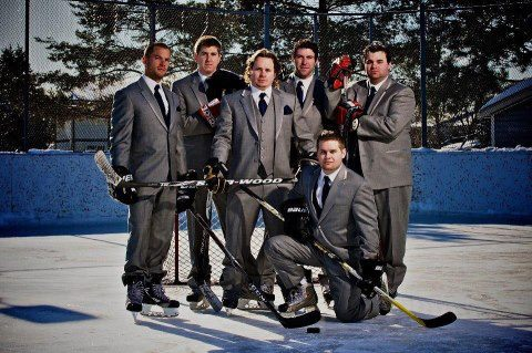 Fire, hockey, wedding, suits, fresh pressed, outdoor rink, skating