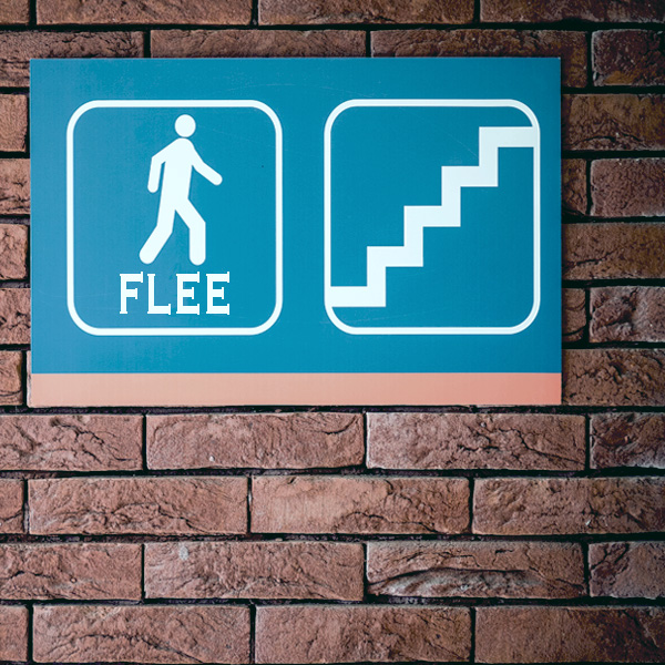 Brick wall, signs, Exit, Flee, Get out, escape, run
