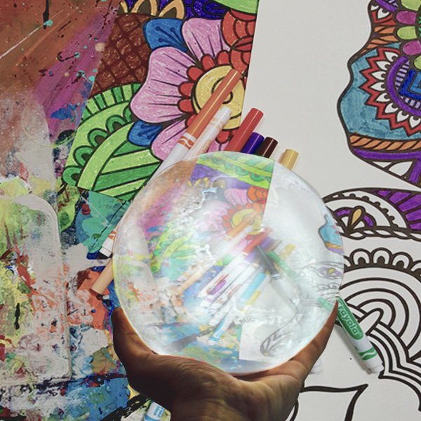 Justin Nolan, holding, crystal ball, colors, art, perspective