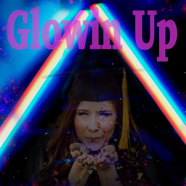 Girl, Graduation, Confetti, neon lights, glow up, celebrate, graduation