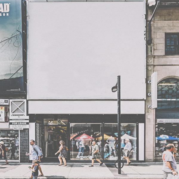 Billboard empty on street