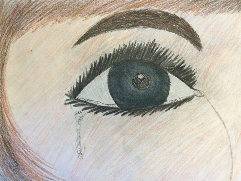 Girl crying, Tear Drop, Sad, School